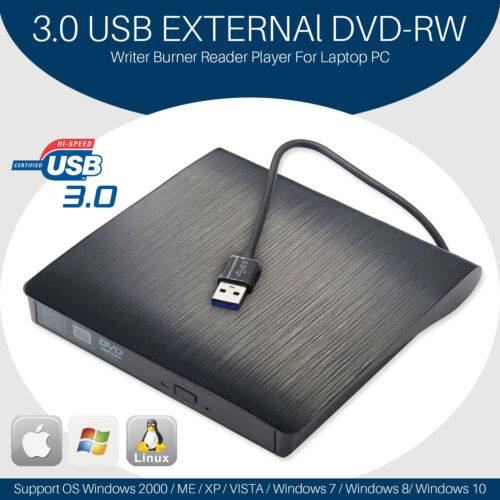 Slim Portable USB 2.0 External Optical DVD CD-RW Burner Writ