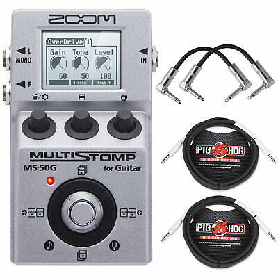 Zoom MS50G MultiStomp Guitar Effects Pedal,2x Patch Cables,2x Instrument Cables Zoom Guitar Patches