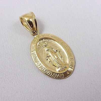 Solid 14K Yellow Gold Miraculous Medal Virgin Mary Pendant, 1.3 grams, Catholic 14k Gold Miraculous Medal