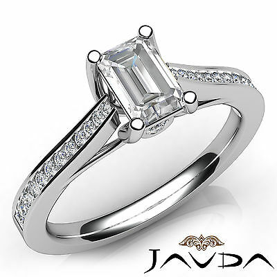 Trellis Style Emerald Cut Diamond Engagement Channel Bezel Ring GIA I VS2 1.01Ct