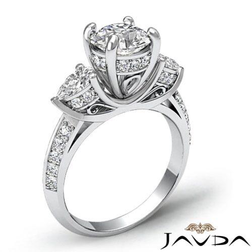 2.21ct Round Diamond Gorgeous Engagement 3 Stone Ring GIA F VVS2 14k White Gold 1