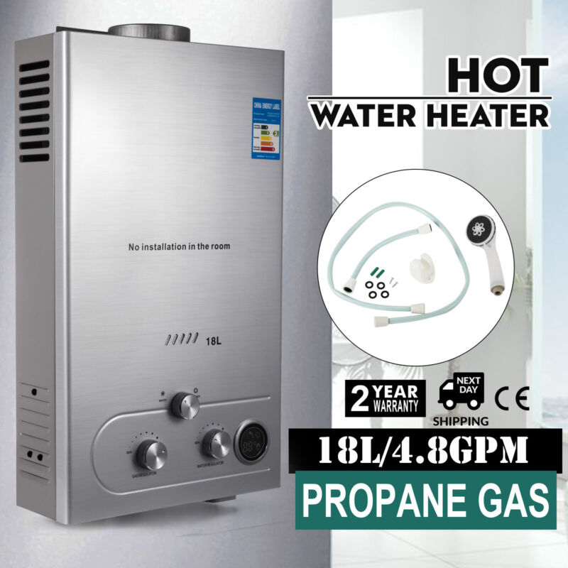 18L Propane Gas Hot Water Heater Instant Boiler On Demand Tankless Water Heater