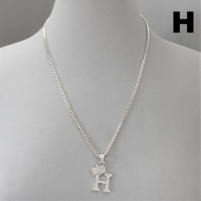 Urban Crown & H Initial Clear Rhinestones Silver Tone Cuban Link Chain Necklace