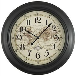 Old World Map Design Large 16 Wall Clock, Rich Black, Quiet Movement - New