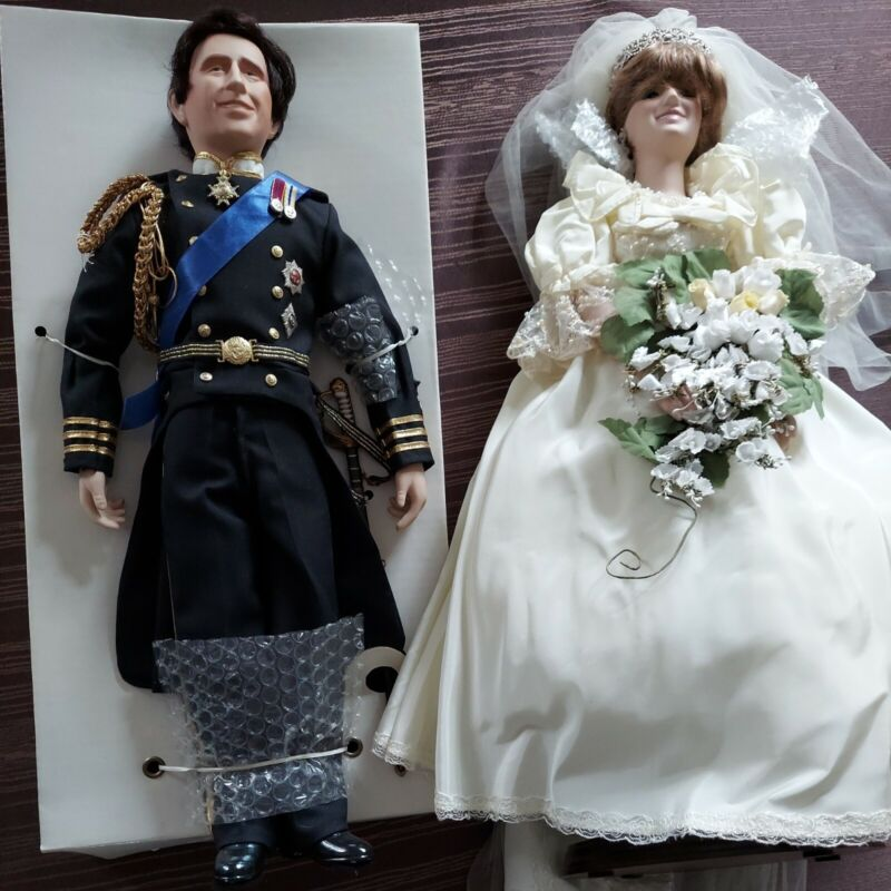 Princess Diana and Prince Charles 19 inch wedding dolls from Danbury Mint