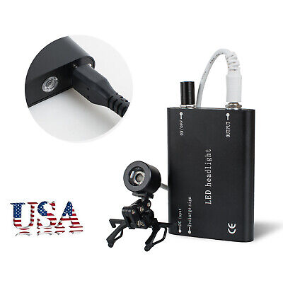 Portable Black Led Head Light Lamp With Clip For Dental Surgical Loupes Usb Type