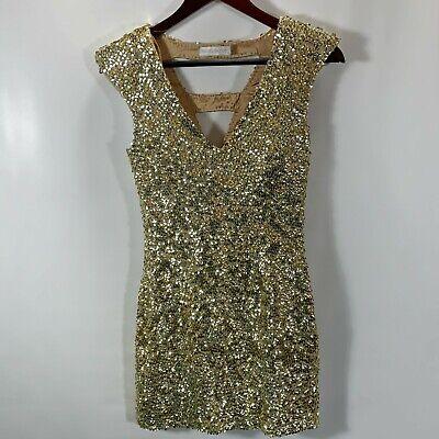 Rachel Gilbert Dress WOMENS Size 1 US 4 Silk Sequin Gold Lined Zip Party Event
