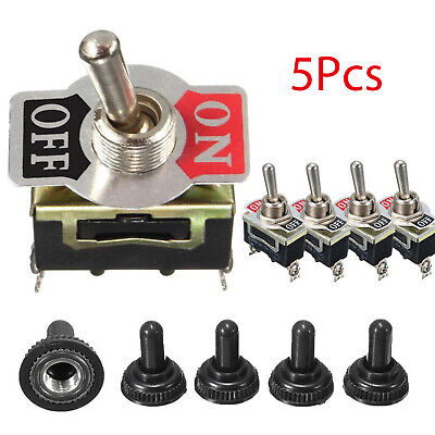 5 Set Waterproof Toggle Flick Switch 12v Onoff Car Dash Light Metal 12volt Spst