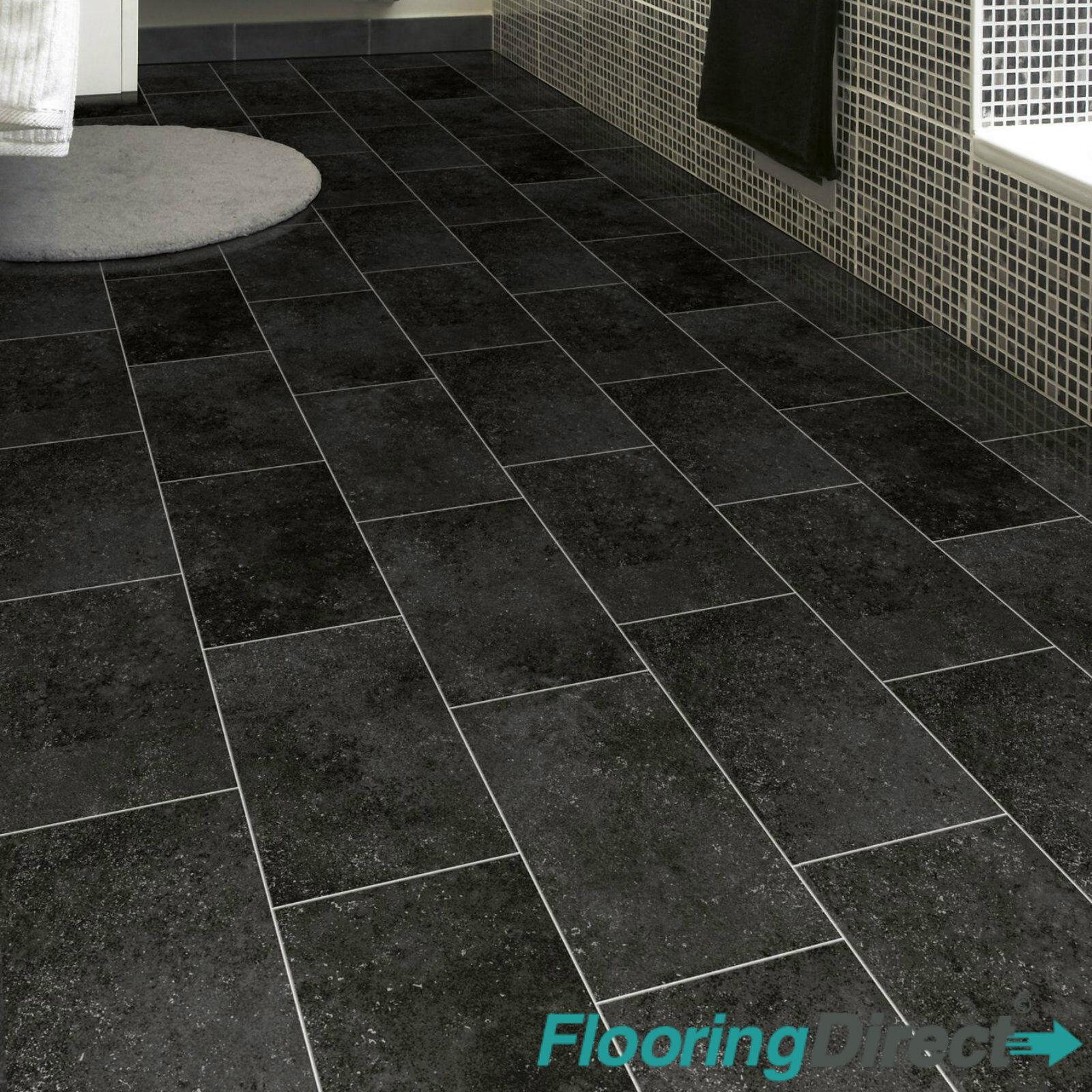 Black Tile Stone Effect Vinyl Flooring