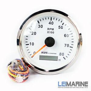 KUS Stainless Steel Bezel Boat Tachometer & Hourmeter Marine 12V/24V 8000 RPM