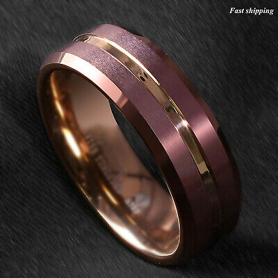 - 8/6mm Brushed Brown Tungsten Mens Ring Rose Gold Groove Stripe ATOP Wedding Band