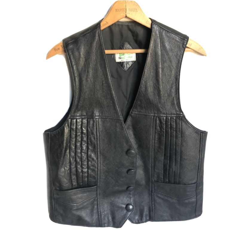 Genuine Leather Vest Hecho en Mexico Snap Up Vest Mens Small