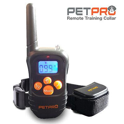 PetPro Remote Dog Training Collar 300m Range, Waterproof, Rechargable (1 Collar)