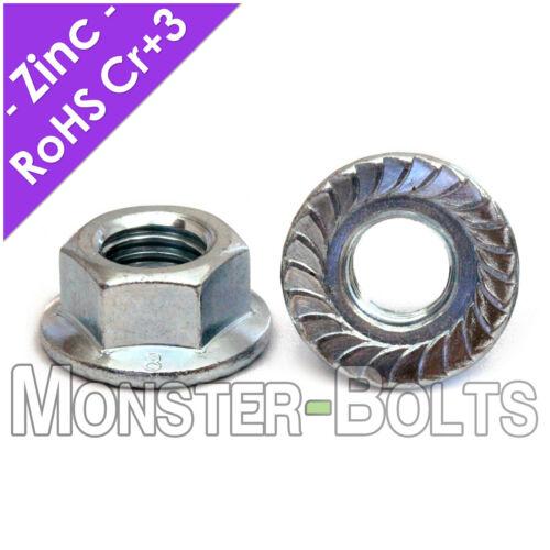 Metric Zinc Hex Serrated Flange Lock Nuts DIN 6923 Class 8 - M4 M5 M6 M8 M10 M12