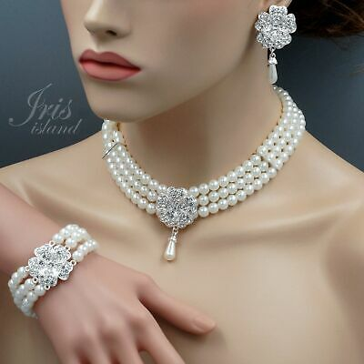 - Pearl Crystal Flower Wedding Bridal Necklace Earrings Bracelet Jewelry Set 6462