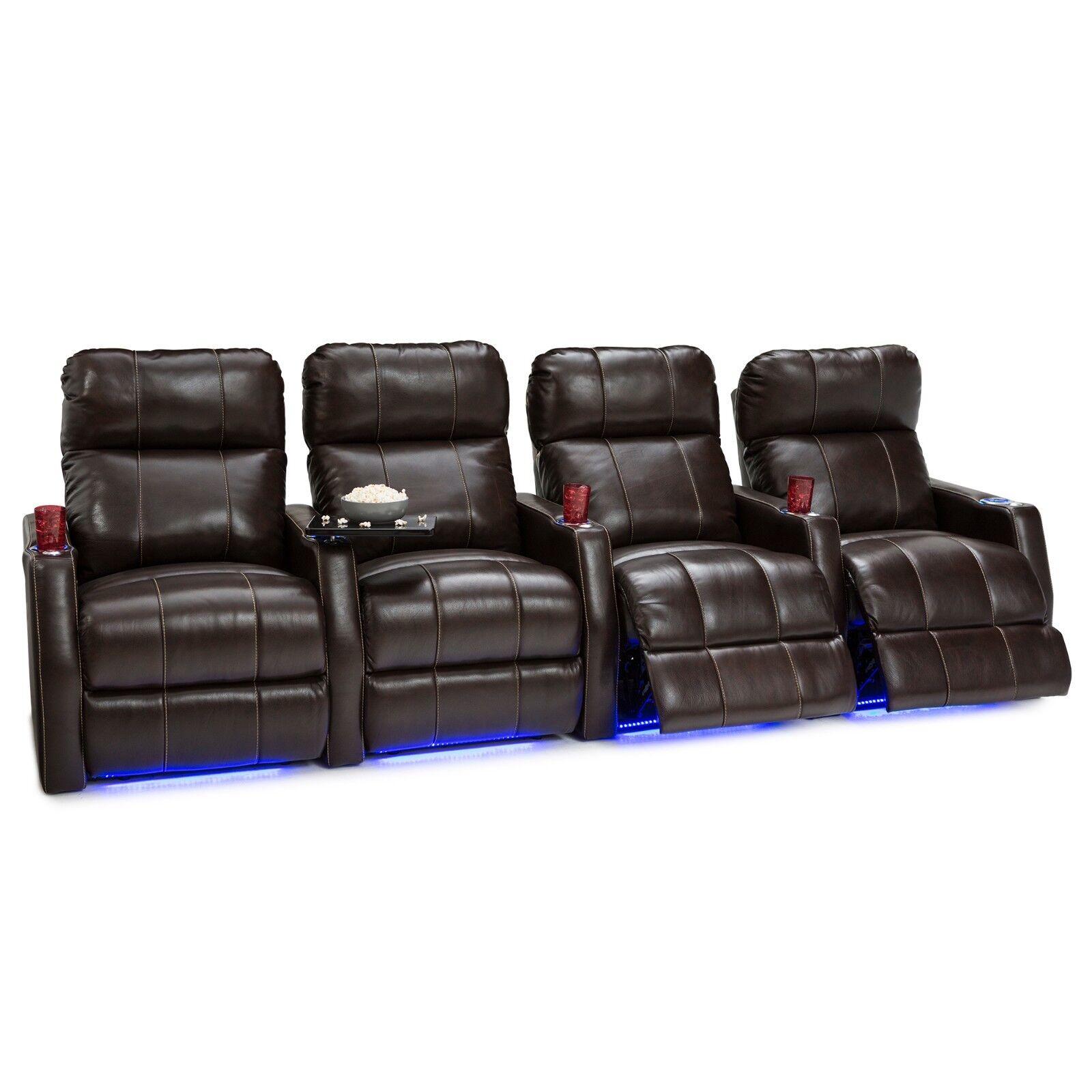 Seatcraft Brown Leather Power Recliner Adjustable Headrest H