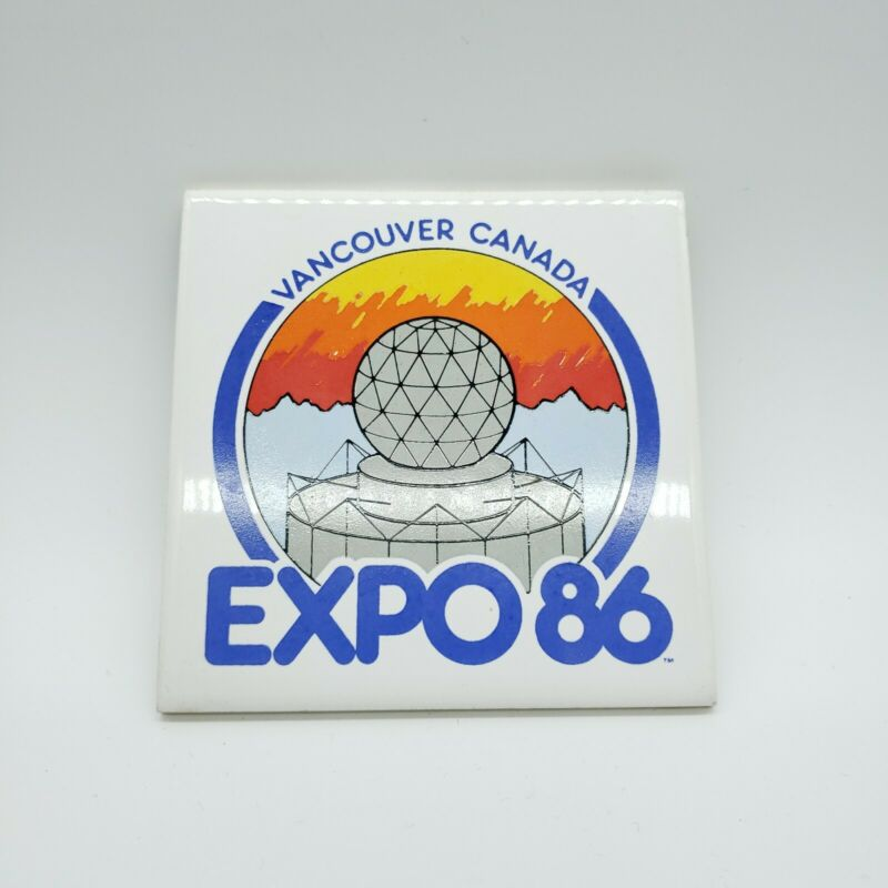 Vintage EXPO 86 Vancouver, Canada Ceramic Decorative Coaster Tile