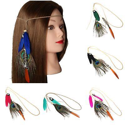 Haarband Haarkette Pfau Feder Stirnband Indianer Look Hippie Kopfschmuck