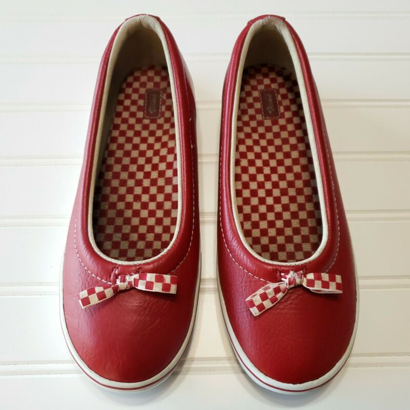 Rare VTG 90s Vans Womens 7.5M Red Leather  Shoes Checkered Bow Boho Retro Preppy