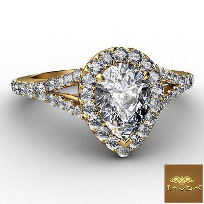 Halo Split Shank Womens Pear Diamond Engagement French U Pave Ring GIA G VS2 1Ct 1