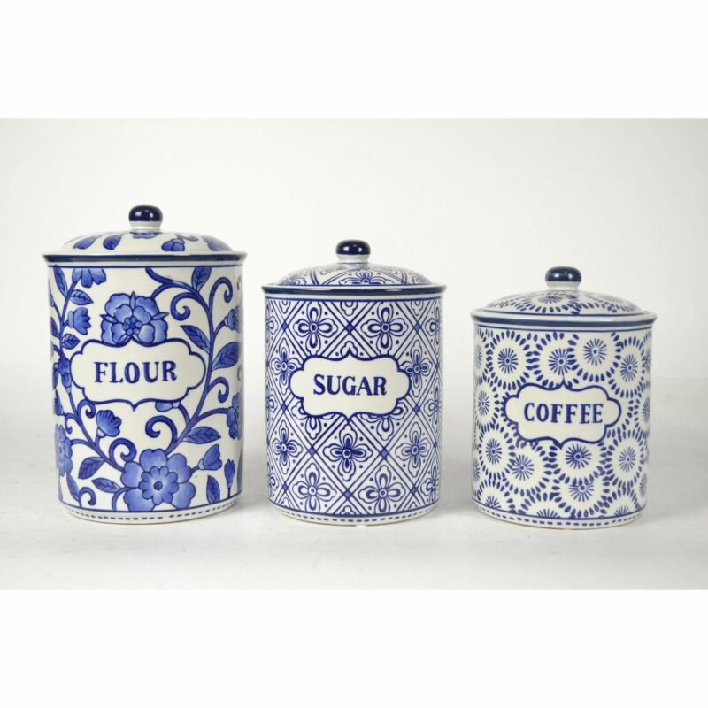 Farm House Blue and White Canister Set