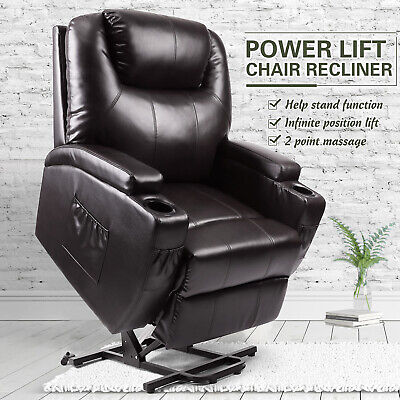 Electric Power Lift Recliner Chair Elderly Armchair w/Massage Lounge Seat