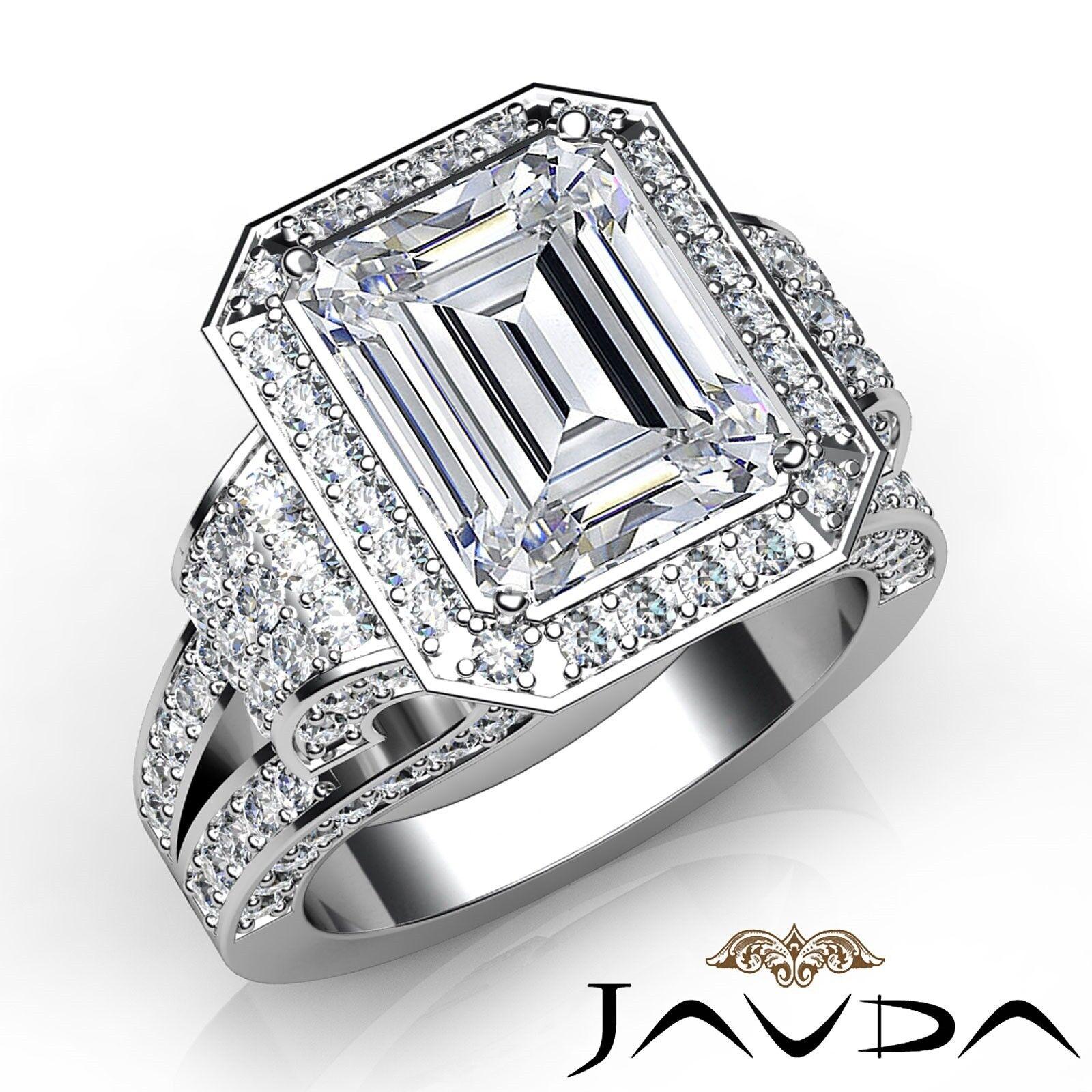 3.4ctw Antique Vintage Halo Emerald Diamond Engagement Ring GIA G-VS2 White Gold