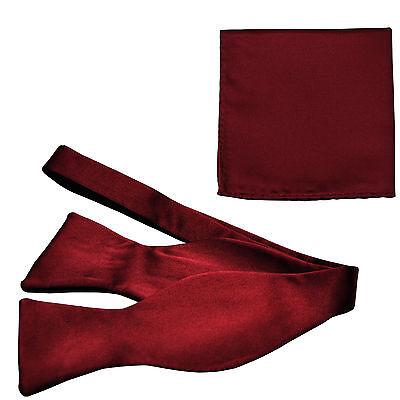 New Men's 100% Polyester Solid Formal Self-tied Bow Tie & hankie set burgundy
