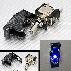 CARBON-FIBER-BLUE-LIGHT-LED-AIRCRAFT-TYPE-TOGGLE-SWITCH