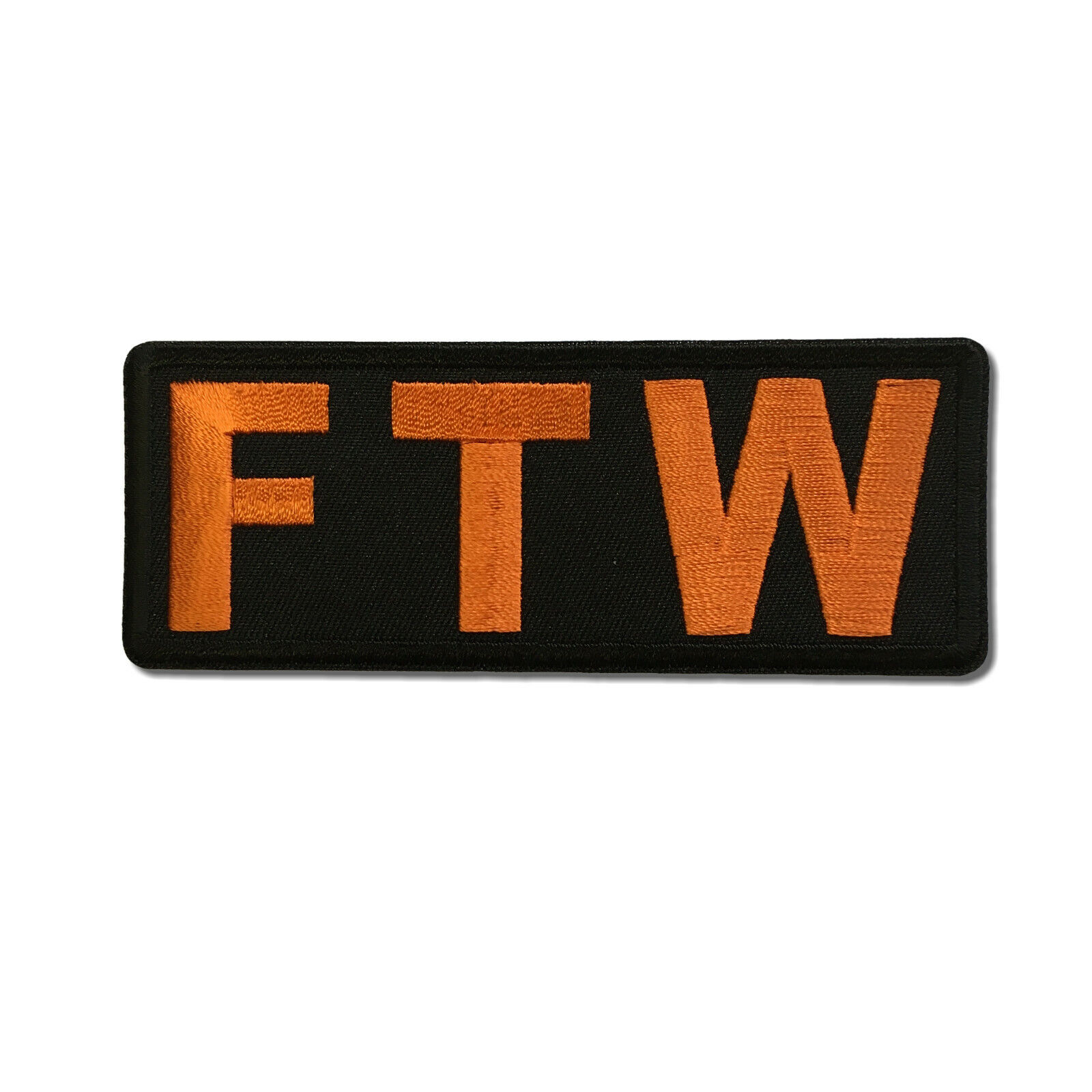 Embroidered FTW Forever Two Wheels Orange Sew or Iron on Patch Biker Patch