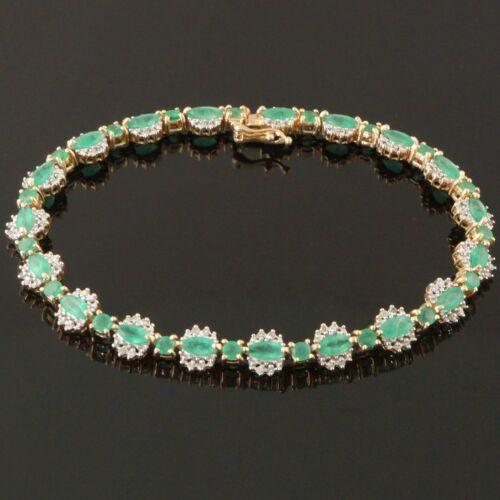 Solid 14K Yellow Gold, 5.13 CTW Emerald & .76 CTW Diamond Link Tennis Bracelet
