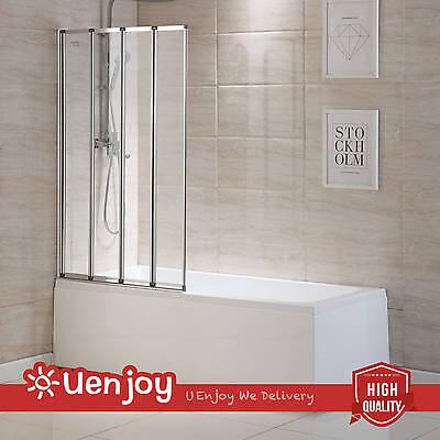 4 Fold Chrome 900x1400mm Frame Folding Bath Shower Screen Door Panel Glass