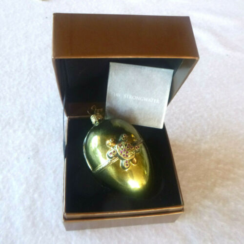 "2002 Jay Strongwater 3"" Green Turtle Egg Ornament & Swarovski Crystals + Box"