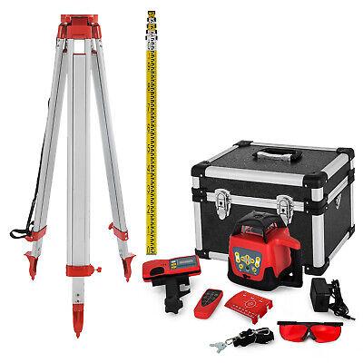 Rotary Laser Level 500m Range Automatic Self-leveling Red Beam Wtripod Staff