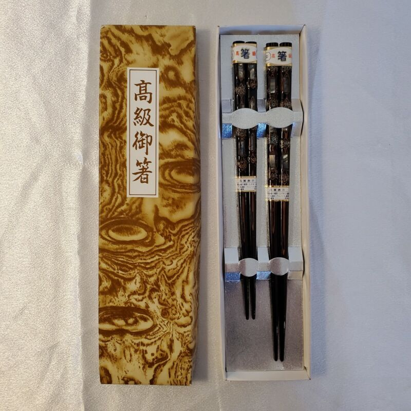 """Vintage Japanese Chopsticks Abalone Inlay Lacquered Wood approx 7.5"""" and 8.75"""""""