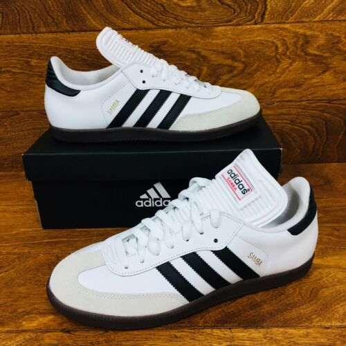 *NEW* Adidas Samba Classic  White Black Gum Soccer Shoes Foo