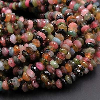 Natural Multicolor Tourmaline Faceted Rondelle 6mm Pink Green Beads 16