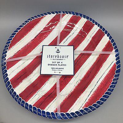 4 Storehouse Dinner Plate Set Melamine Outdoor Red White Blue Americana Nautical