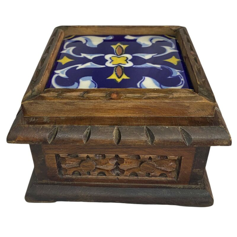 VINTAGE Hand Carved Wood Box With Blue Talavera Tile Top Made In Mexico