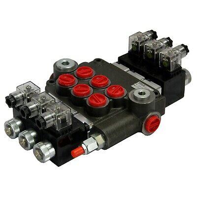 Solenoid Operated 3 Spool Control Valve 12 Volt 21 Gpm