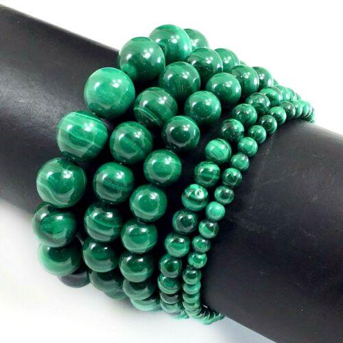 "Handmade Gemstone Natural Malachite Stretch Bracelet Round Bead 7.5"" 4 6 8 10 12"