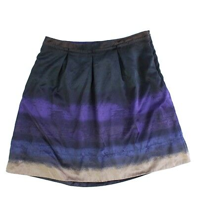 VINTAGE Mossimo A-Line Skirt Satin Size 8 Pleated Front Back Hook Zip Closure