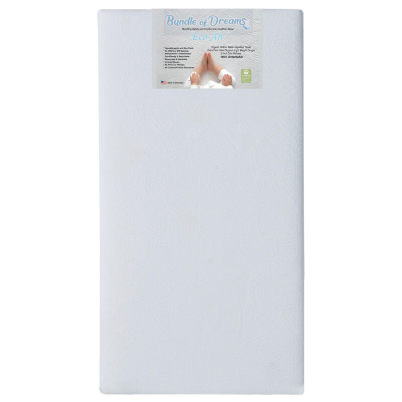 Bundle of Dreams Eco-Air Crib & Toddler Hypoallergenic Mattress w/ Cover, White
