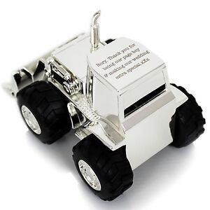 Personalised Engraved Silver Digger Tractor Money Box - Christenings, Christmas