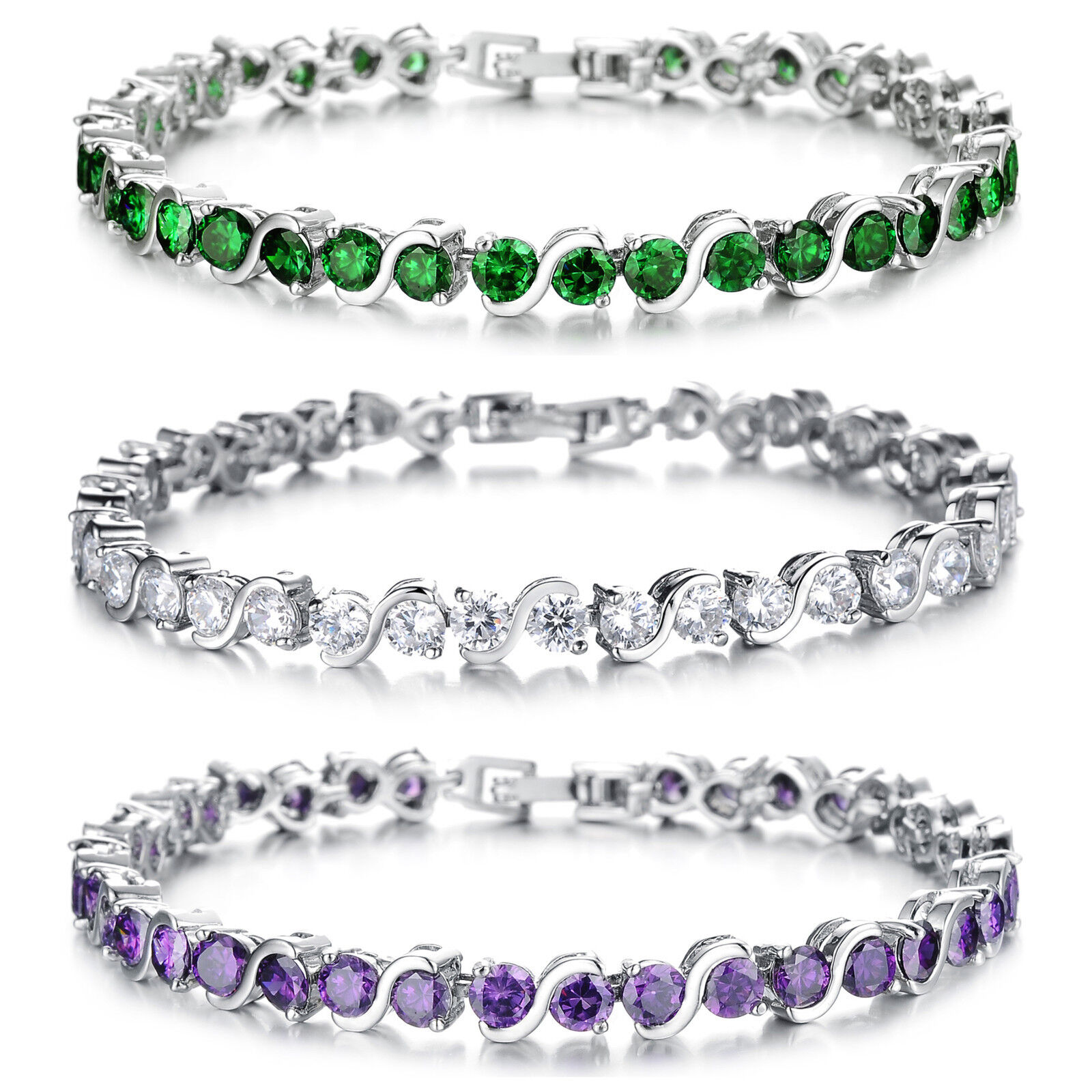 Women's Bracelet, White Gold Plated Infinity Cubic Zirconia Tennis Bracelet Bracelets