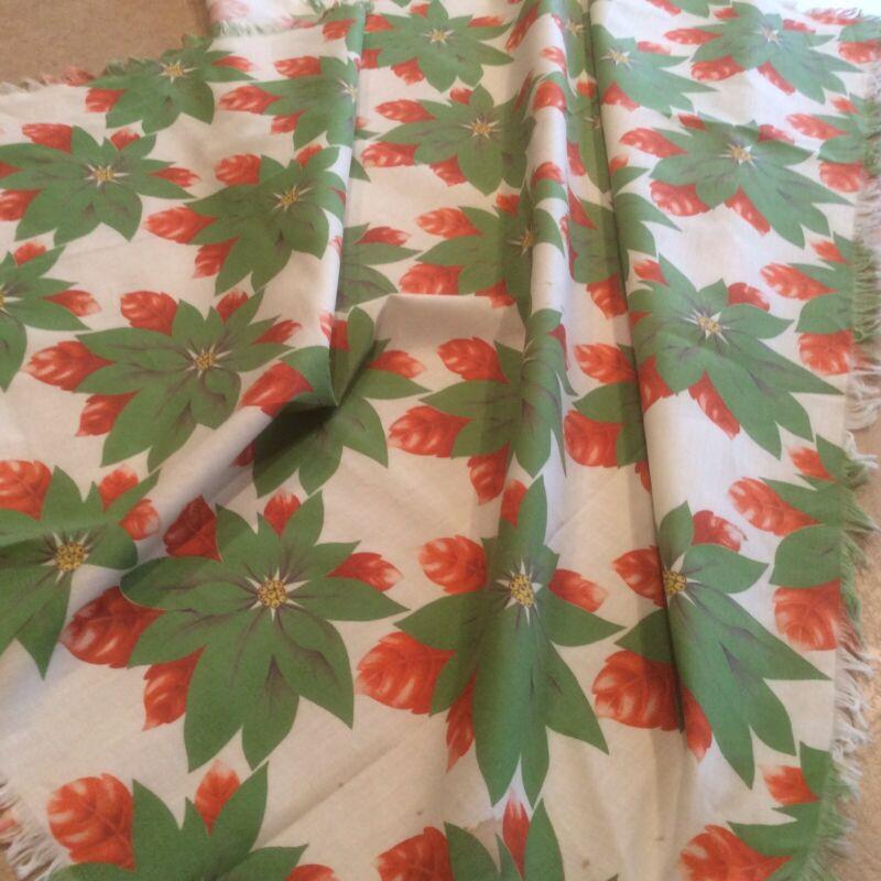 "Vintage Christmas Tablecloth Cotton Fabric Unusual Color Poinsettias 34x38"" Fun!"