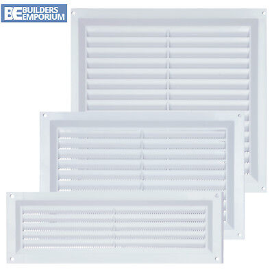 Air Louver Cover (Plastic Louvre Air Vent Cover White with Fly Mesh Used For Ventilation)