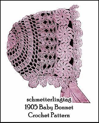 - 1905 Vintage Baby Bonnet Crochet Pattern Lacy Fancy  Gibson Girl Era Reenactment