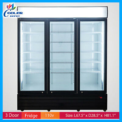 Upright Refrigerator 3 Glass Door Commercial Merchandiser Display Cooler Drink