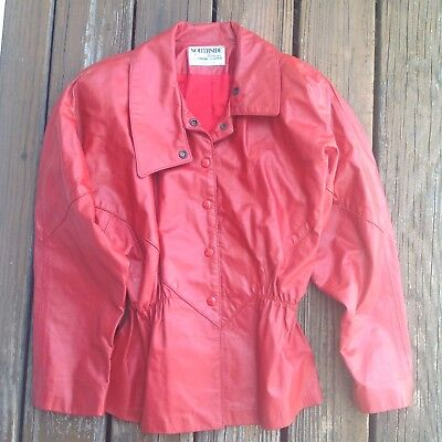 Vtg Northside  Fashions Jacket Red Leather Fitted Waist Blazer 80s 90s Large XL